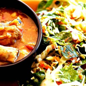 Cauliflower, Sweet Potato And Chicken In A Red Curry Sauce
