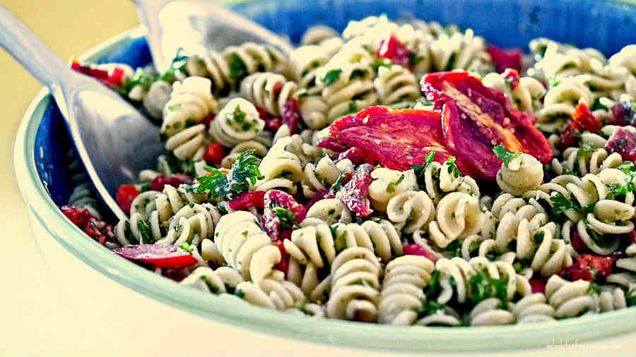 Gluten Free Pasta Salad with Sun Dried Tomatoes and Parsley