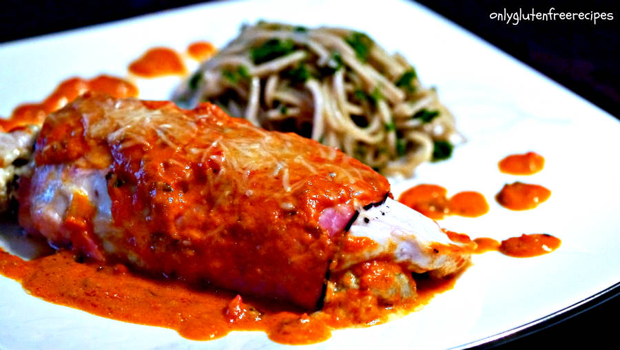 Chicken Stuffed With Artichoke In Tomato Basil Sauce