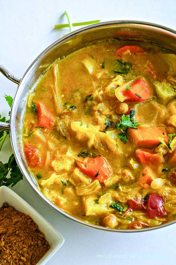 Gluten Free Vegetarian Light Curry Soup