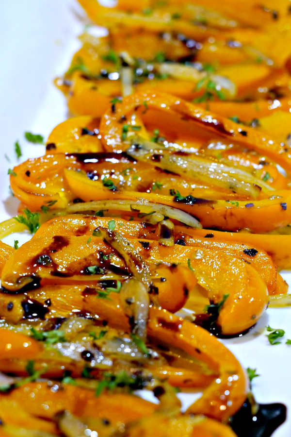 Braised Peppers with Balsamic Reduction