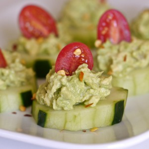 Cucumber Bites With Spicy Guacamole