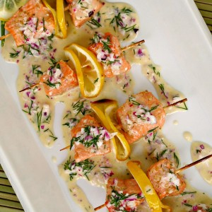 Salmon Pops With Piquant Dill Sauce