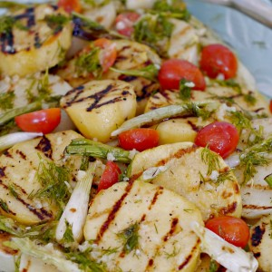 Grilled Potatoes with Mustard Dill Vinaigrette