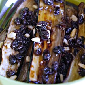 Marinated Japanese Eggplant With Raisins And Pine Nuts