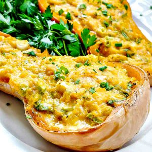 4-Ingredient Double Stuffed Butternut Squash Recipe