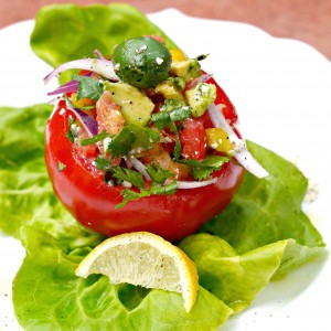 Tomato Stuffed with Mediterranean Salad
