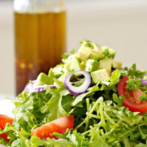 kale salad with ginger salad dressing.w