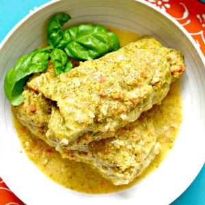 Savoy Cabbage Rolls in Light Curry Sauce