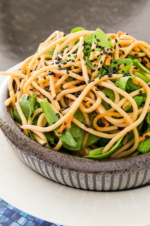 Soba Noodle Spinach and Carrot Salad