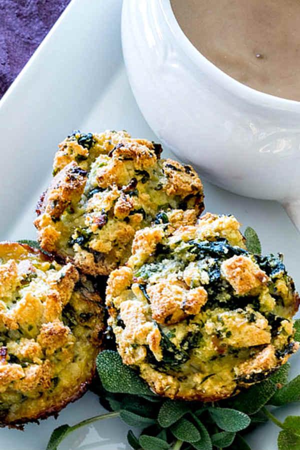 Gluten Free Apple Spinach Stuffing Muffins