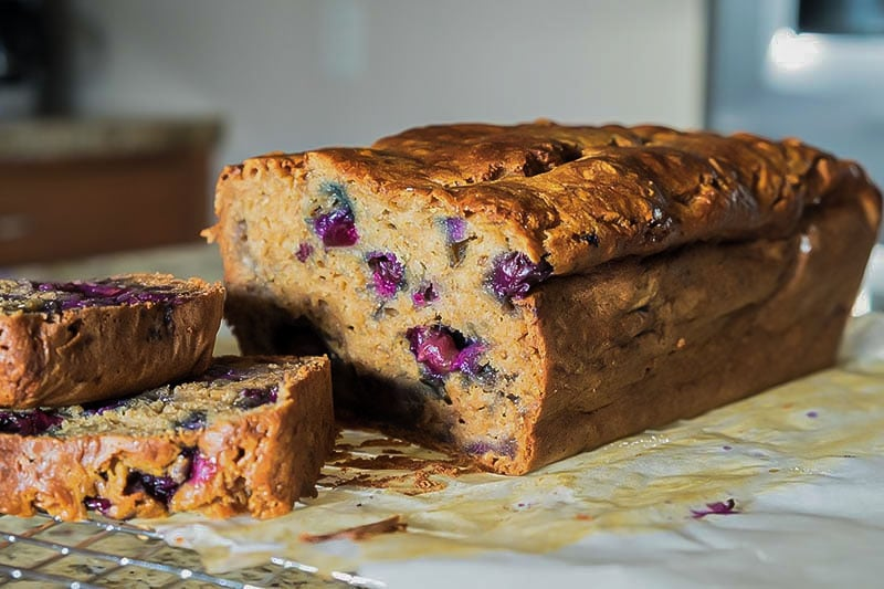 banana blueberry bread, gluten free