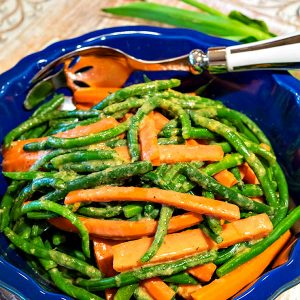 Green Beans And Carrots in Miso Dressing