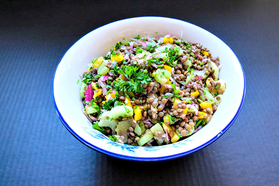include high protein, iron, folate, vitamin B1, healthy heart, weight loss, cancer, help with digestions, and maintain healthy nervous system just to name a few. This vegan recipe comes together fast and easy with added health benefits that help you detox your body for optimum health. Include this tasty lentil salad in your lunchbox, as a main, side or as anytime healthy snack. Enjoy!