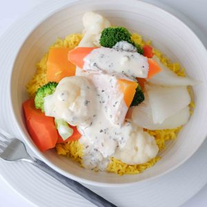 Buddha Bowl with Garlic Lemon Cream Sauce
