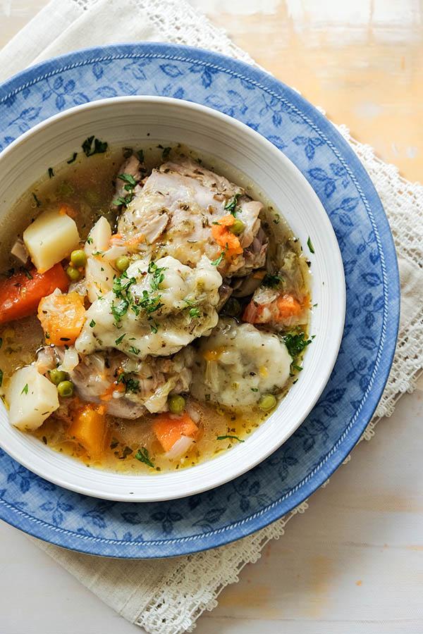 Chicken Stew with Gluten Free Buttermilk Dumplings