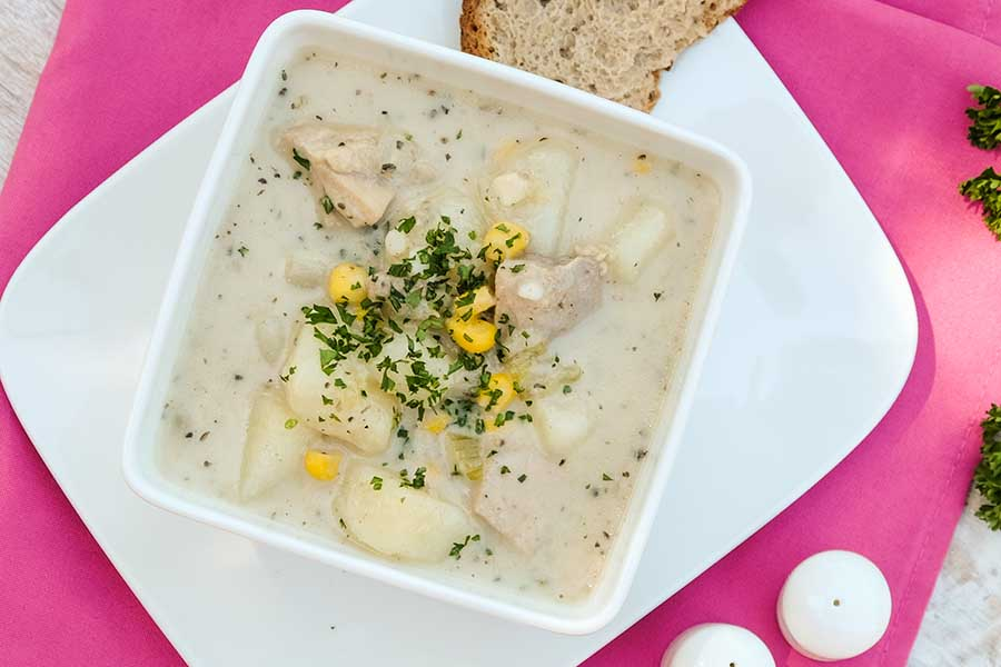 Gluten Free Chicken, Potato and Corn Chowder in 30 minutes