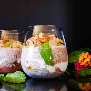 Layered Chia Pudding with Maple Glazed Walnuts