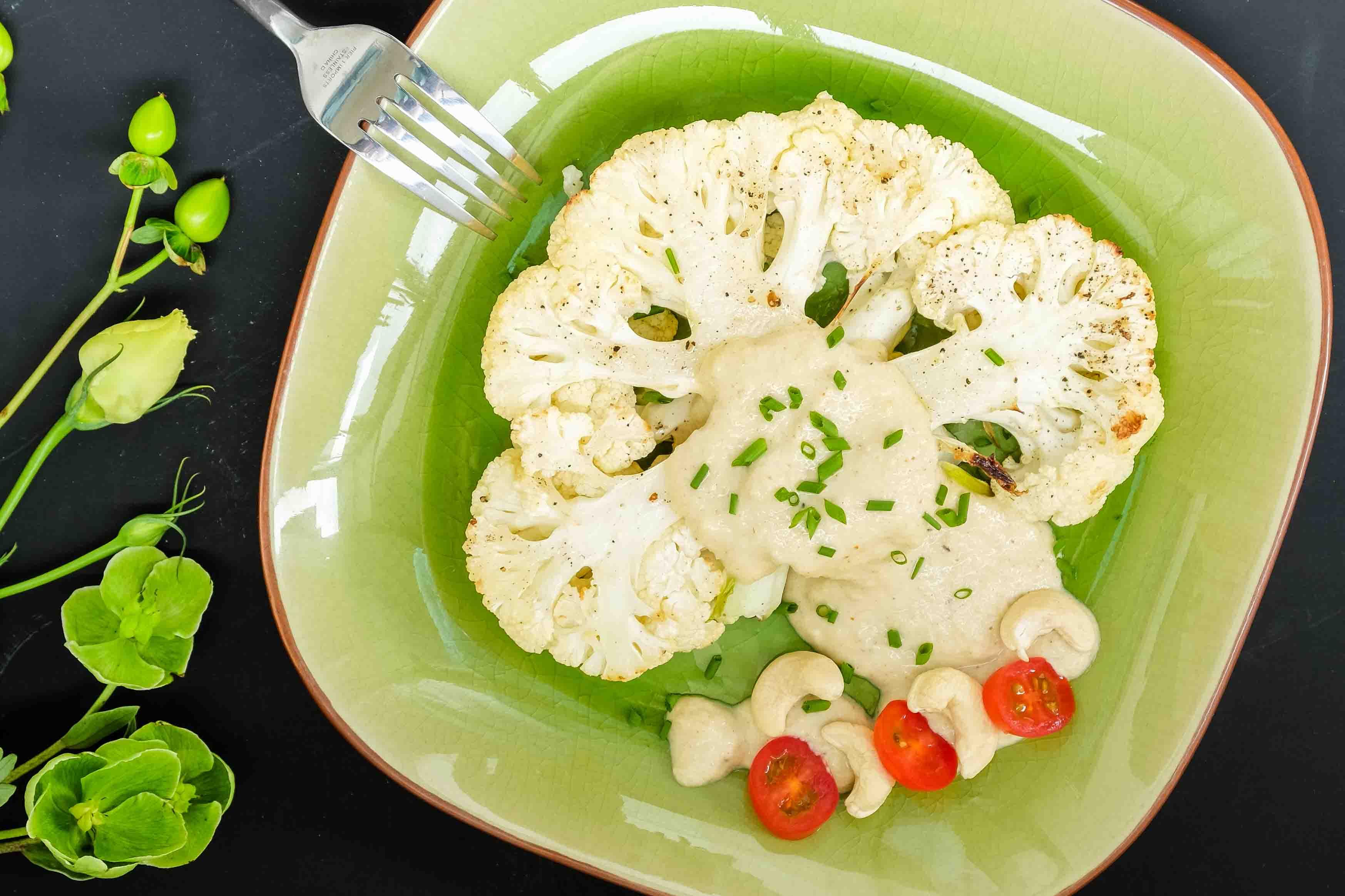 Vegan Cauliflower Steak with Cashew Sauce
