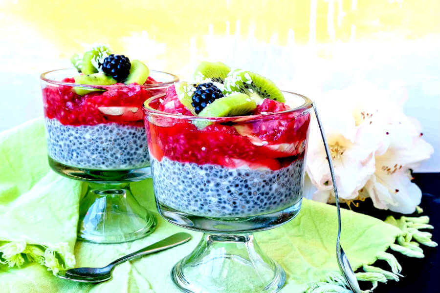 Coconut Chia Pudding with Raspberry Sauce
