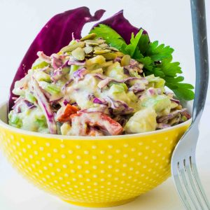 Crunchy Avocado Salad with Yogurt Dressing