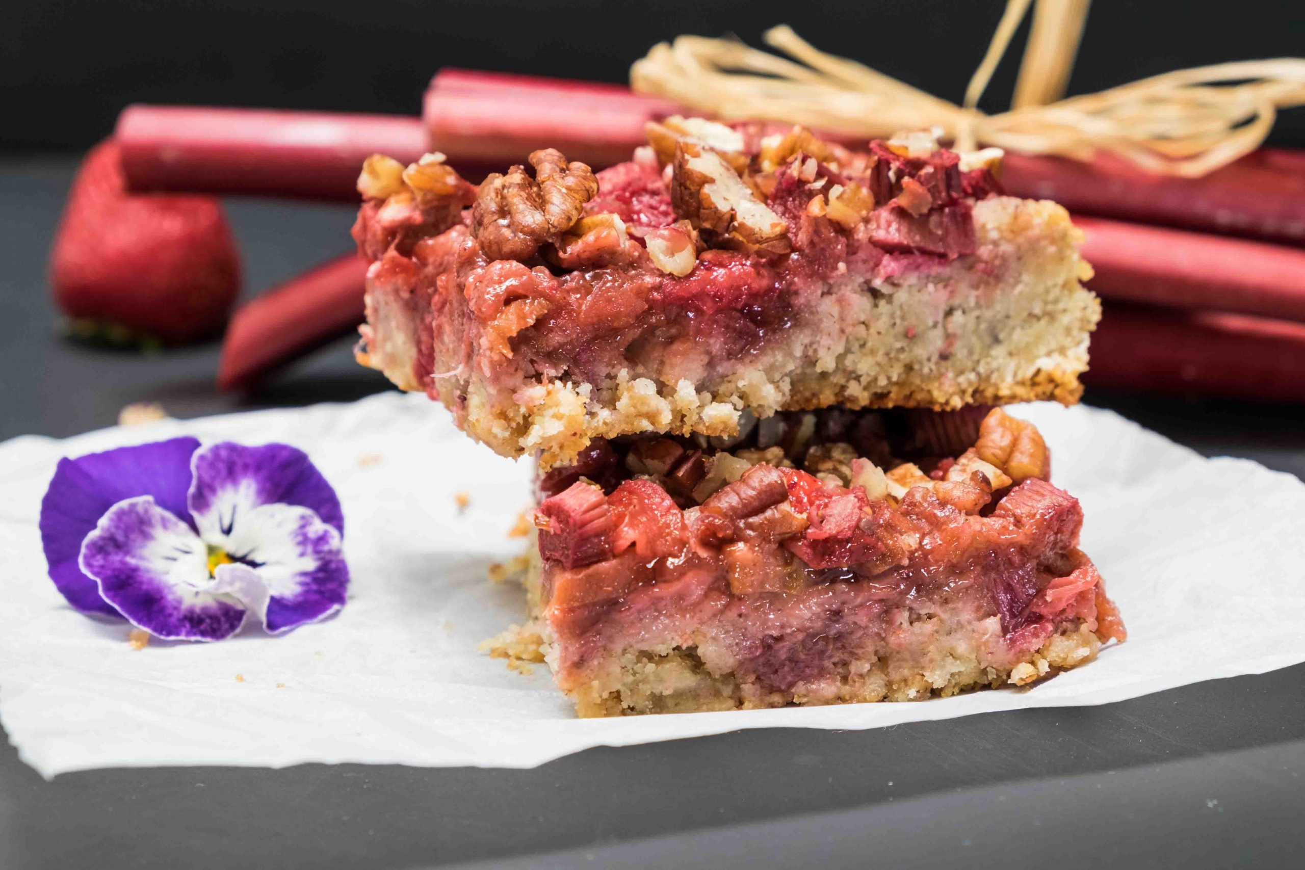 Gluten Free Rhubarb Strawberry Squares