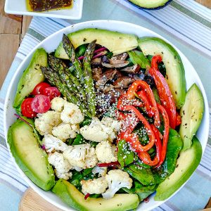 Roasted Vegetable Salad with Tamari Ginger Dressing