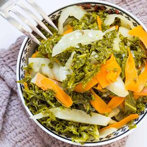 Braised Kale with Cabbage and Carrots