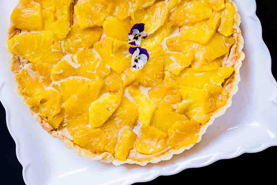 Gluten Free No Bake Cashew Butter Tart with Pineapples