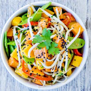Rice Noodle Salad Roasted Veggies And Sweet Miso