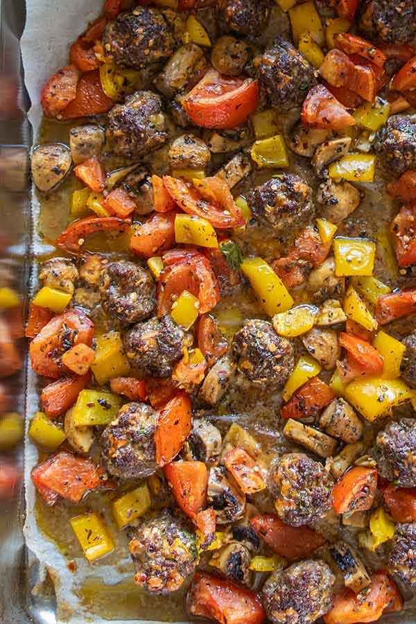 roasted veggies with meatballs