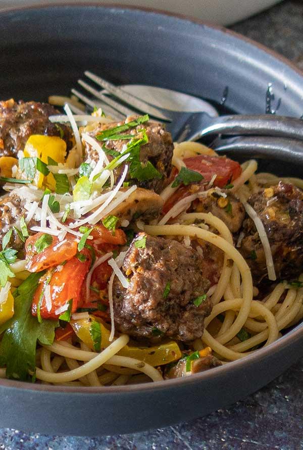 sheet pan spaghetti and meatballs, gluten free