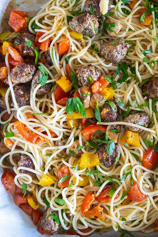 sheet pan spaghetti and meatballs, gluten-free