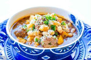 beans, soup, meatballs, Italian