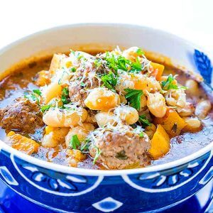 Tuscan White Bean Soup with Meatballs
