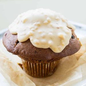 Gluten-Free Pumpkin Muffins with Maple Walnut Glaze