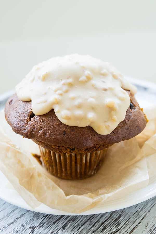 Gluten-Free Pumpkin Muffins with Maple Walnut Glaze