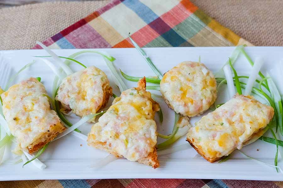 canapés, appetizer, cheese, bacon, snack
