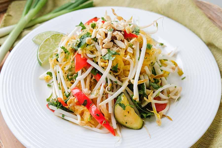 vegan, Thai, spaghetti squash,