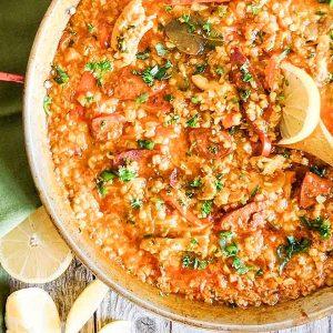 Chicken and Chorizo Cauliflower Rice Paella