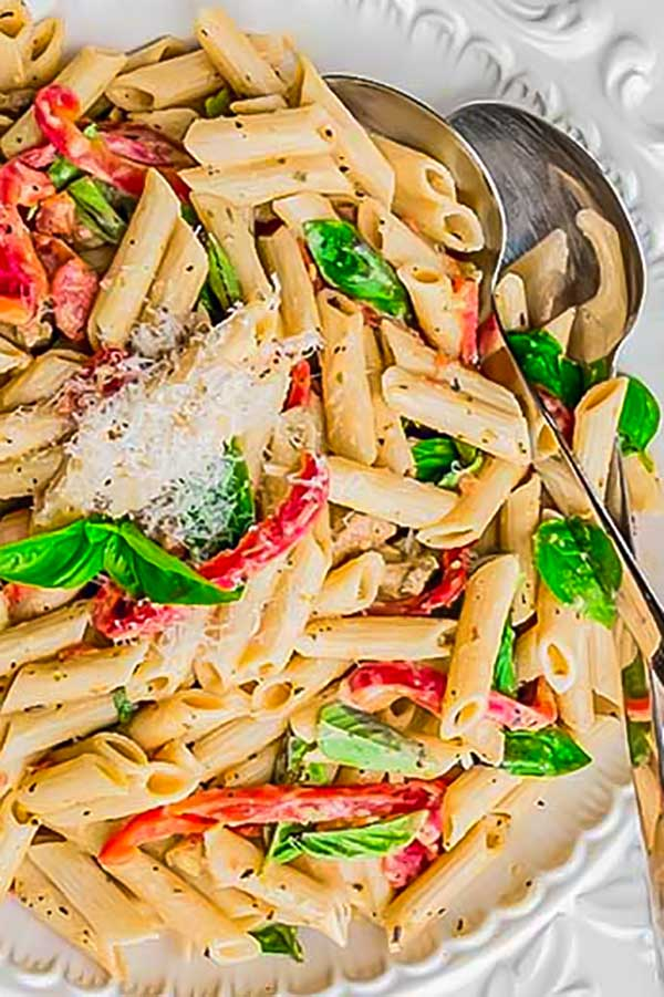 penne pasta with chorizo