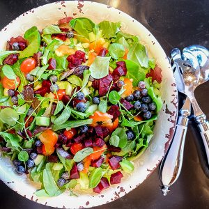 Rainbow Salad with Tamari Honey Vinaigrette