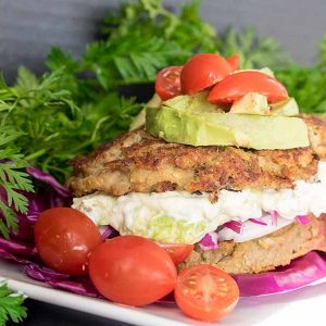 Vegan Lentil Burgers with Avocado Mayo