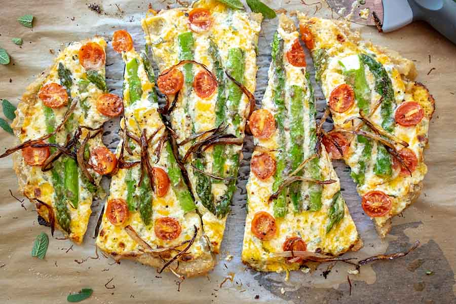 flatbread, cheese, asparagus, tomatoes