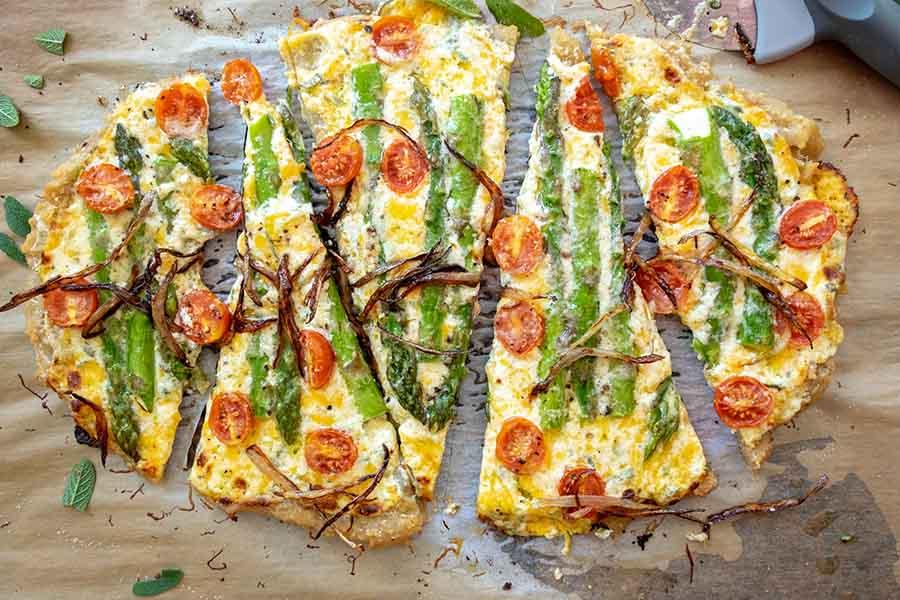 flatbread, cheese, asparagus, tomatoes