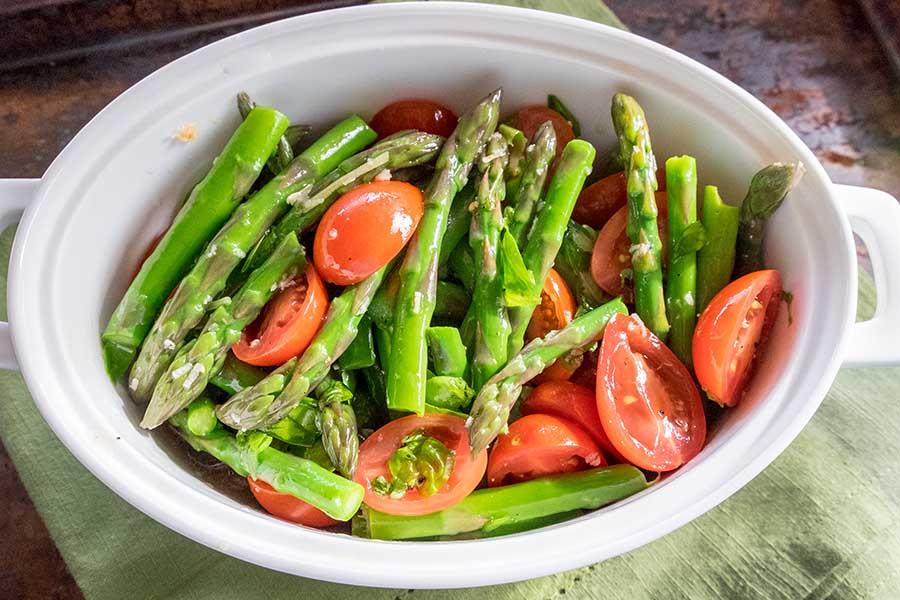 asparagus, tomato, basil