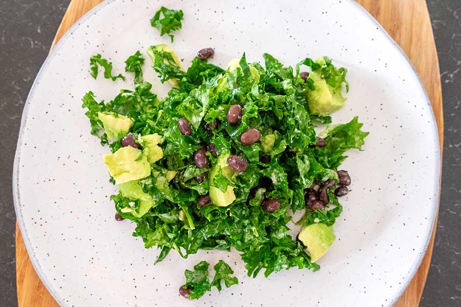 Avocado and Black Beans Kale Salad