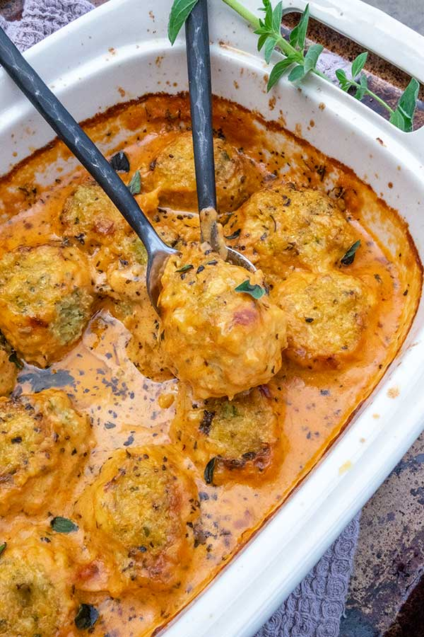 Cauliflower Quinoa Dumplings in Creamy Marinara Sauce