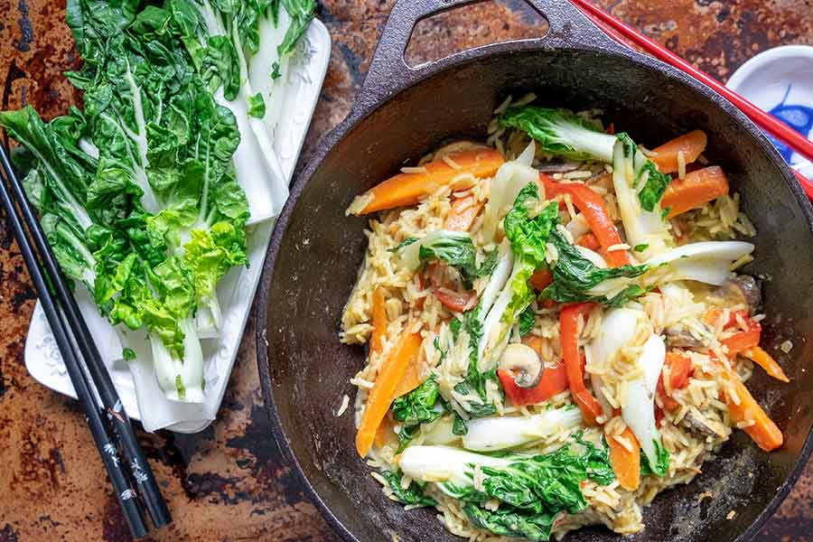 Thai Vegan Bok Choy Rice Bowl