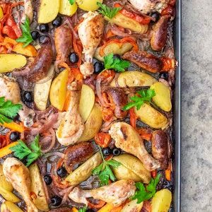 Sheet Pan Spanish Chicken Dinner